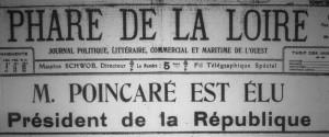 Monsieur Raymond Poincaré, président du Conseil (chef du gouvernement) est élu  Président de la République