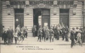 Mobilisation au Grand Lycée en août 1914