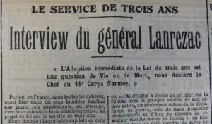 6 avril 1913 Loi de 3 ans Interview Lanrezac