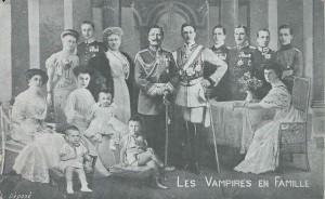 """""""Vampire"""" : Guillaume II ou """"Les Vampires en famille"""" sur une carte adressée à une institutrice avec de """"Bons baisers"""" !"""