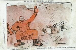 « Le colis du Nantais au front », carte postale de Baudrier vendue le 14 juillet 1915