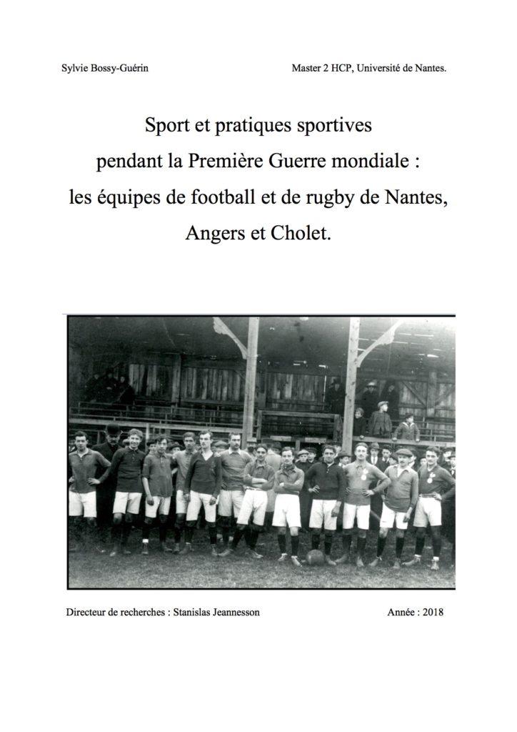 Couverture Sport et pratiques sportives pendant la Première Guerre mondiale