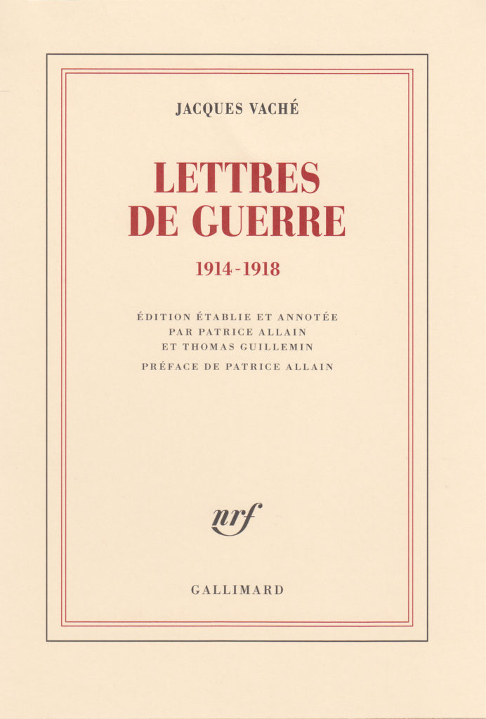 Jacques Vaché Gallimard couverture